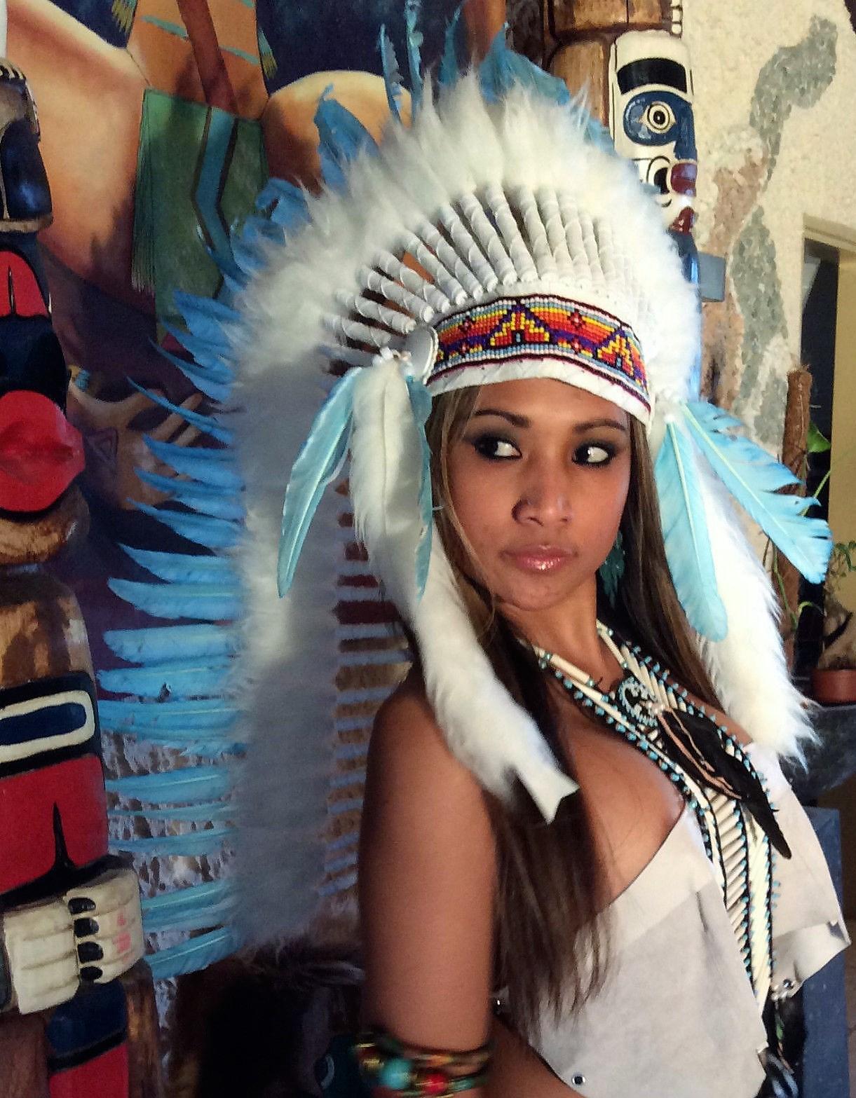 Federhaube War Bonnet Indianer Kopfschmuck Indianer Squaw Pocahontas